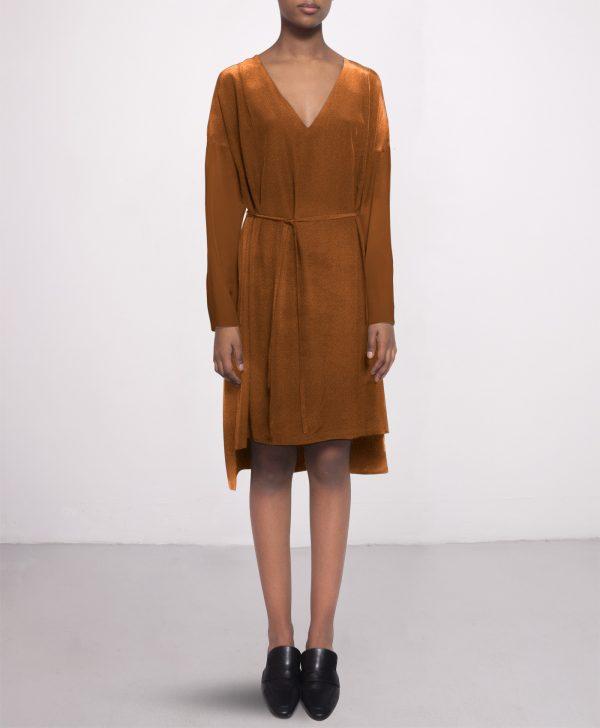 silk dress cashew cognac