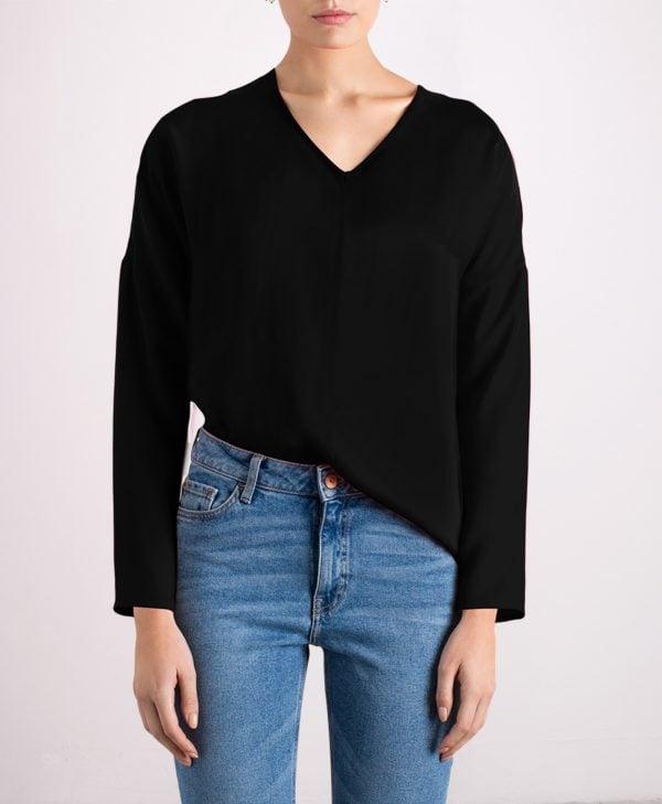 Custom-fit black silk top