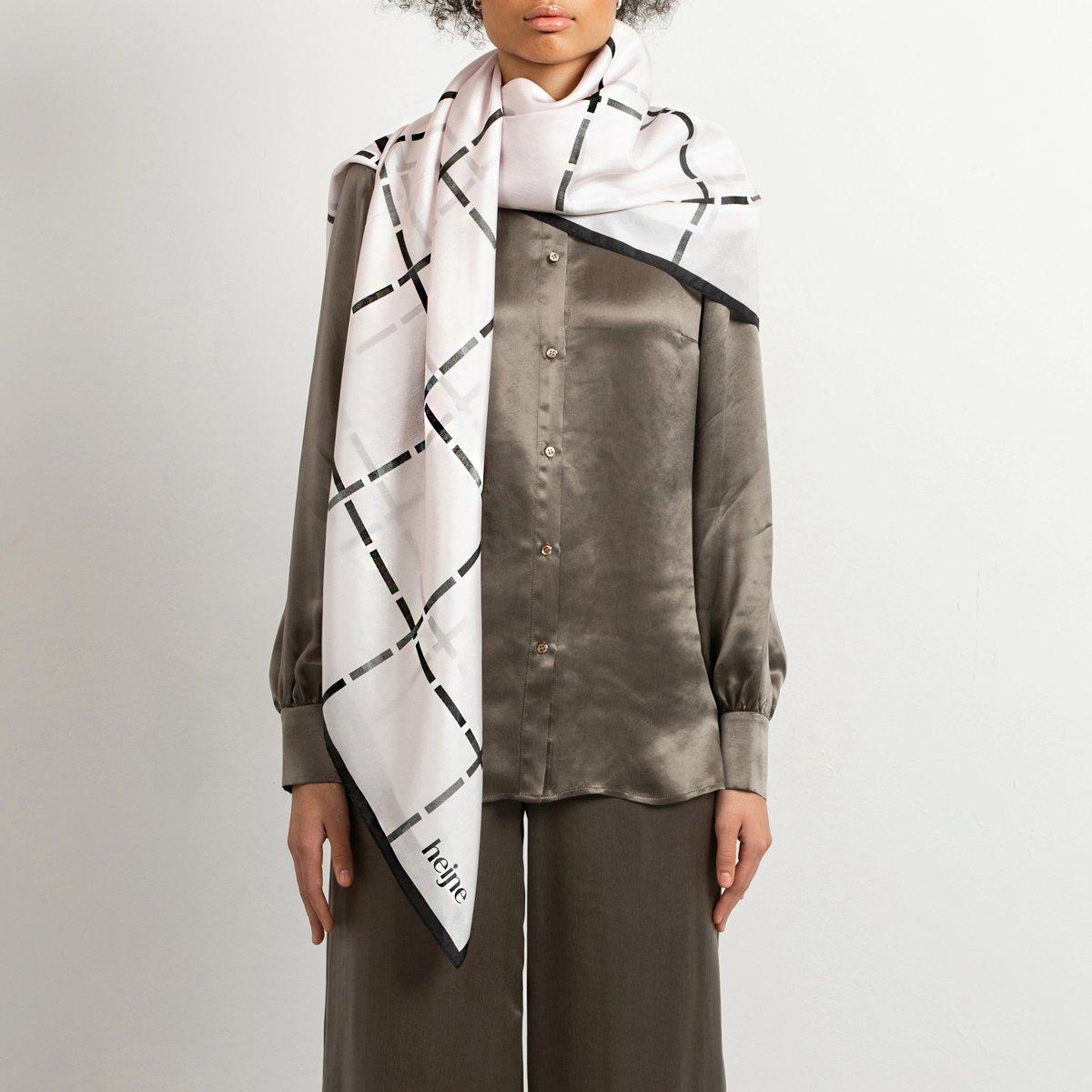 Silk scarf check pattern
