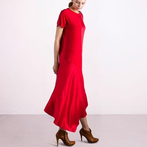 dance red dress silk