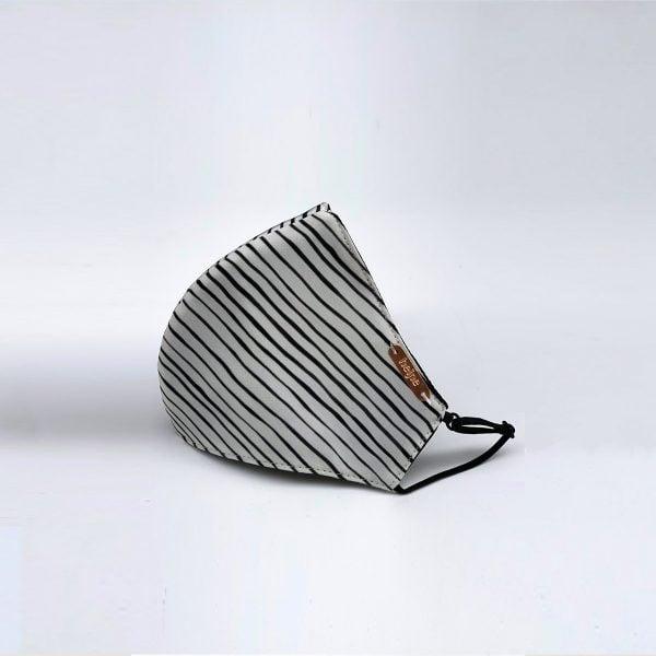 Striped silk face mask