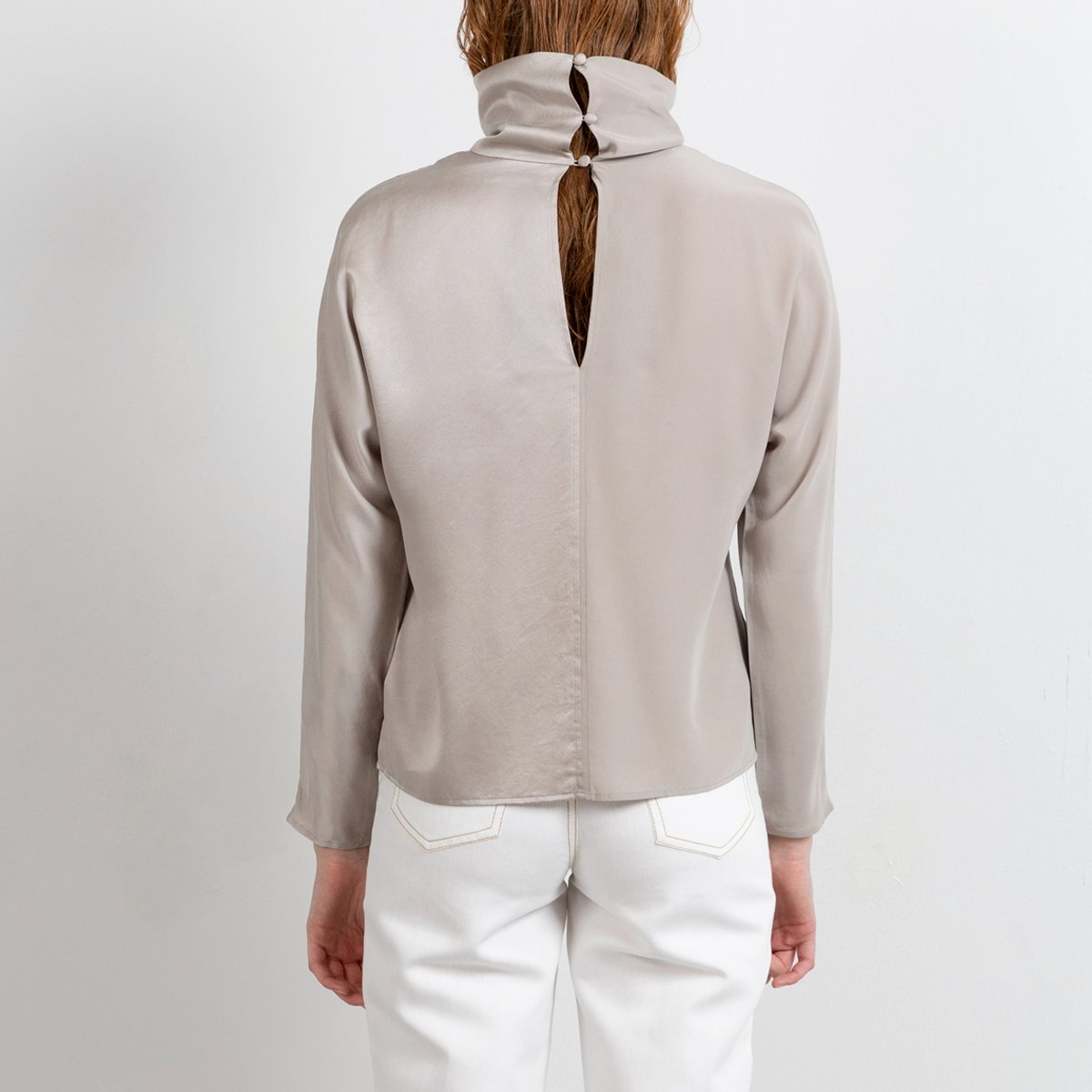 Long sleeve top in beige grey with cowl neck