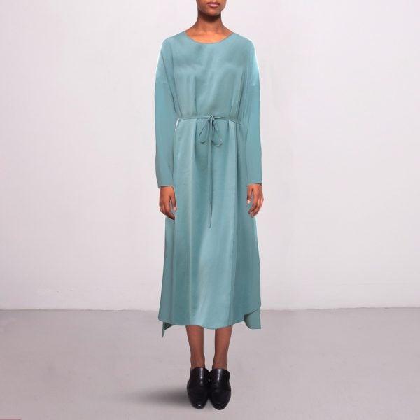Long silk dress in stone blue