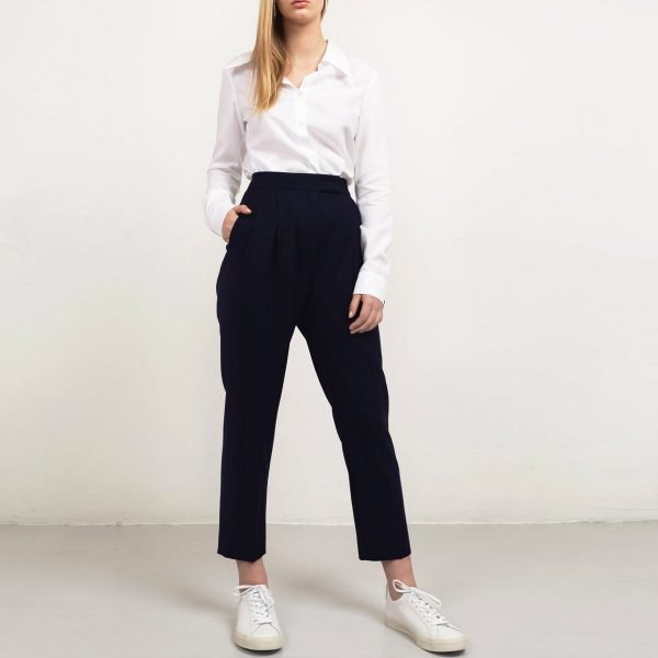 Cropped navy wool trousers