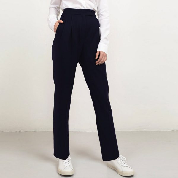 Long navy wool trousers