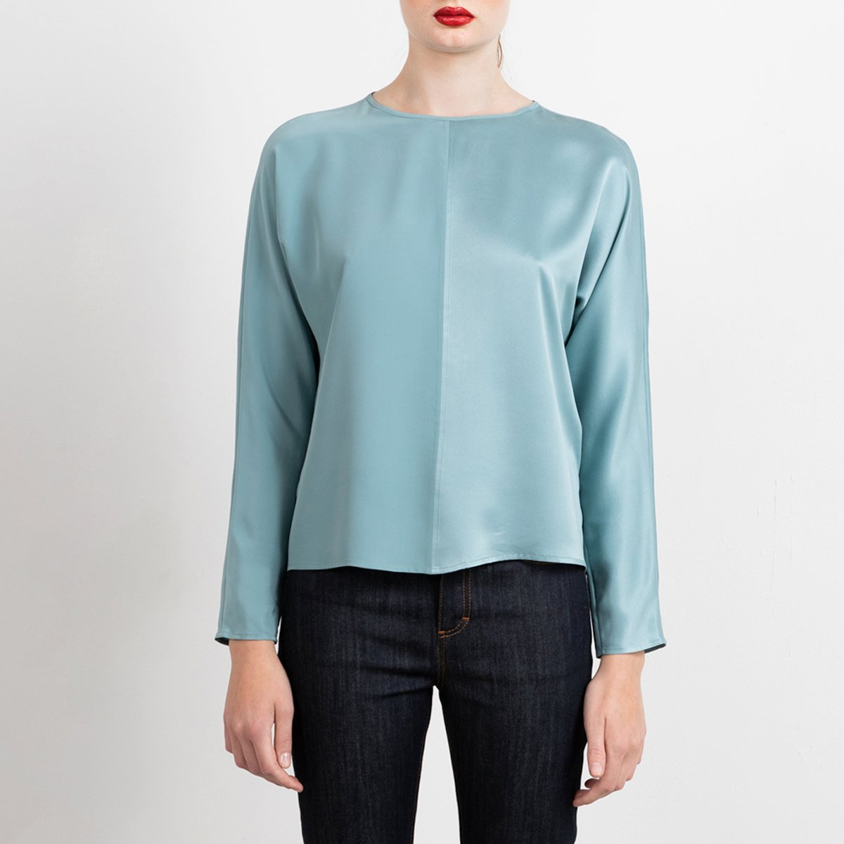 Long sleeve silk top