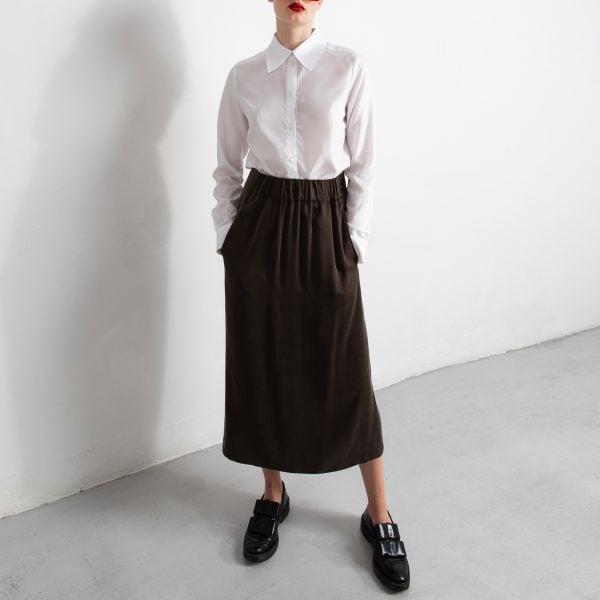 long brown silk skirt