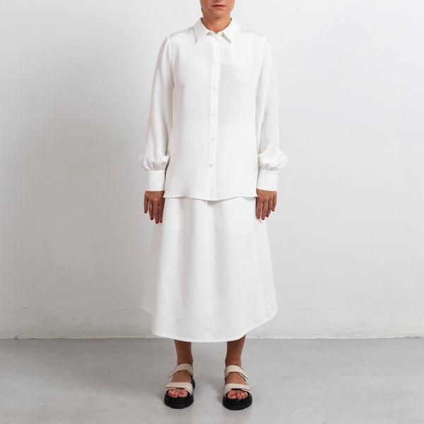 A-line white skirt